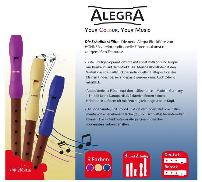 Hohner Blockflöte Alegra Line blau barock Griffweise C-Sopran 3-Teilig